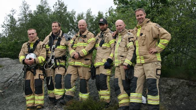 Styrkan från Gårda brandstation var en av styrkorna som var på plats under räddningsinsatsen. Benedikt längst till vänster. Foto: Räddningstjänsten Storgöteborg