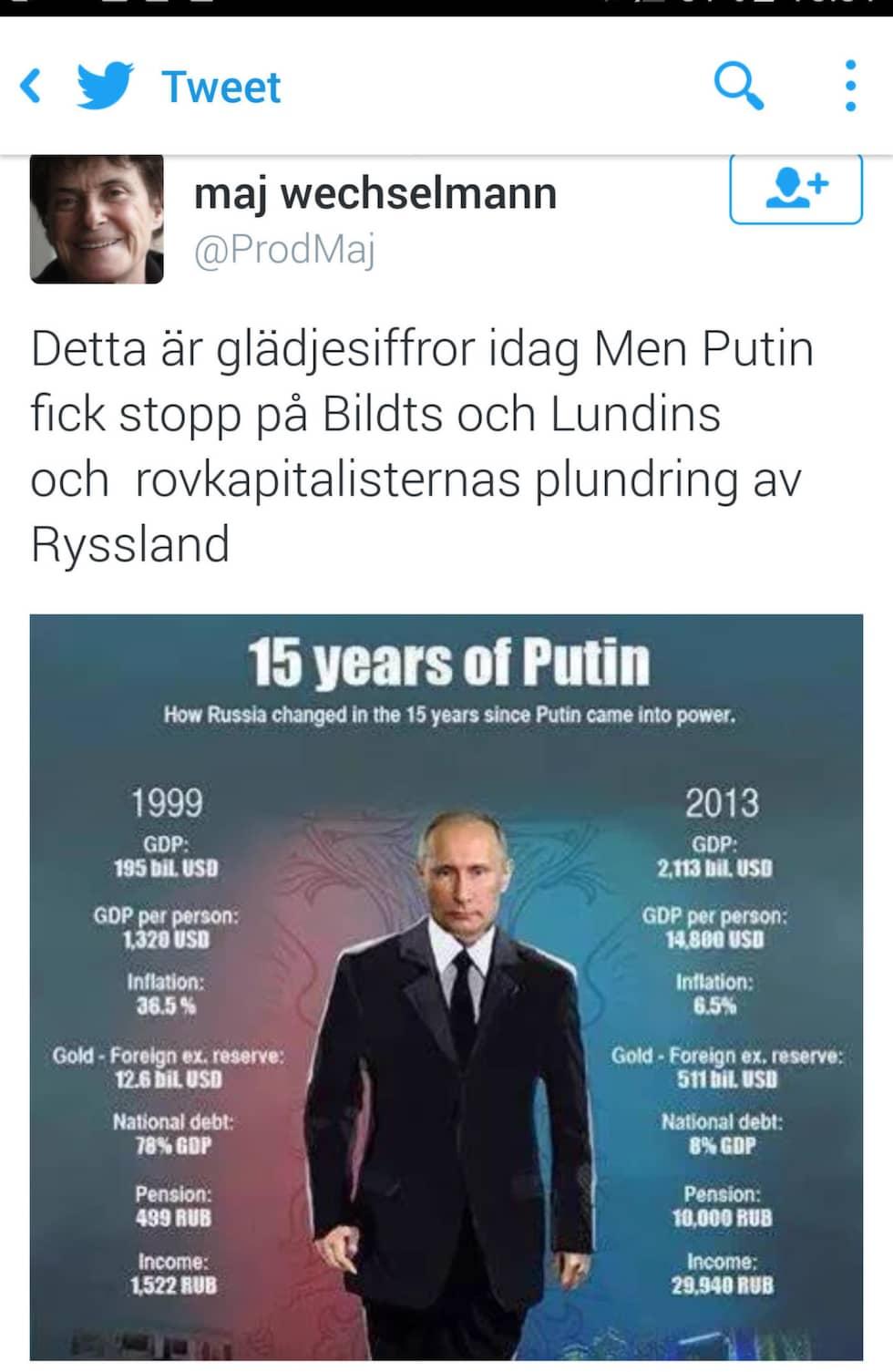 Maj Wechselmann hyllar Putin.