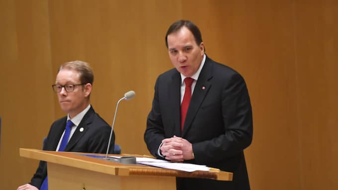 Stefan Löfven vid årets första partiledardebatt. Foto: TT NYHETSBYRÅN
