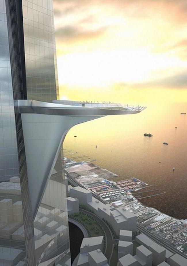 Illustration  – så här ska den 697 kvadratmeter stora terrassen i Jeddah Tower med utsikt över Röda havet se ut.