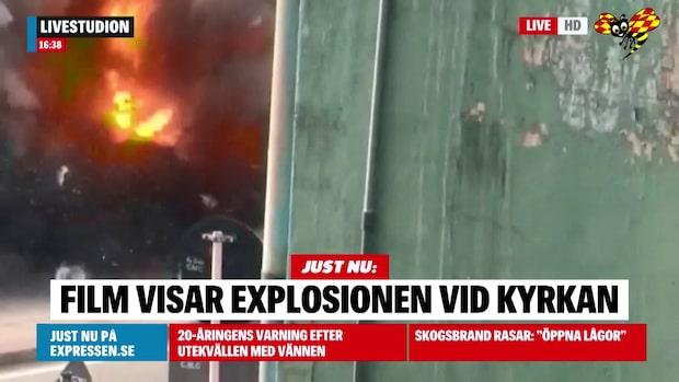 Se när bomben exploderar i Sri Lankas huvudstad