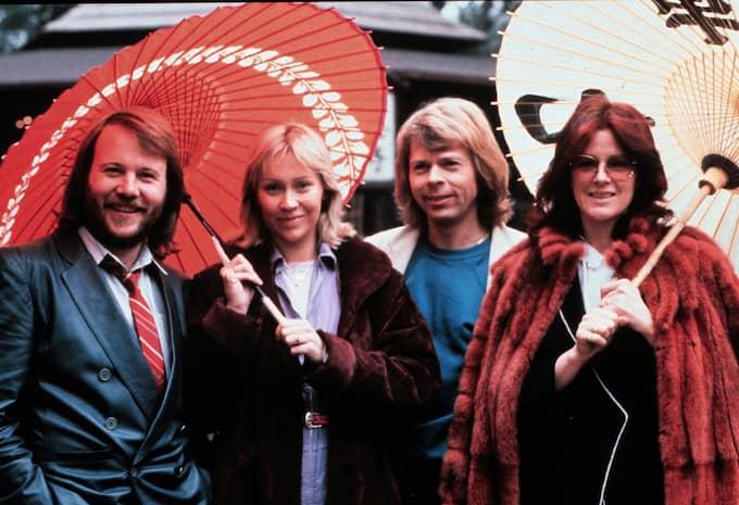 Benny Andersson, Agnetha Fältskog, Björn Ulvaeus och Annifrid Lyngstad bildade tillsammans succé-gruppen Abba. Foto: PER KAGRELL / PRESSENS BILD EXPRESSEN