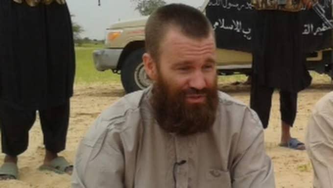 Svensken Johan Gustafsson sitter sedan november 2011 fången i Västafrika. Foto: AFP/AL-JAZEERA