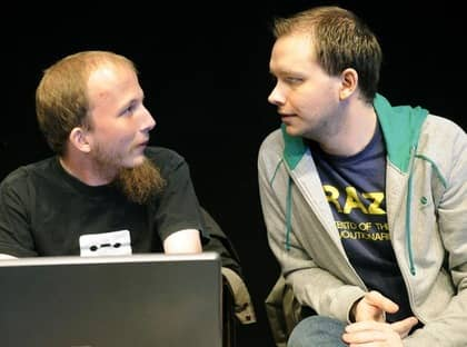 Gottfrid Svartholm Warg och Peter Sunde hoppas på friande domar när Pirate Bay-rättegången startar i hovrätten. Foto: Jan Düsing