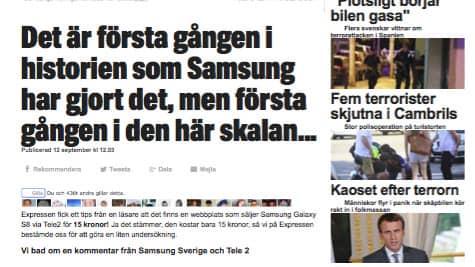 Artikeln om Samsung är inte producerad av Expressens redaktion.