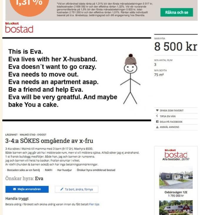 """Trebarnsmamman Eva Espinoza vill flytta ifrån sin exmake så fort det bara är möjligt. Nu letar hon en ny lägenhet genom Blocket-annonsen """"3-4:a SÖKES omgående av x-fru"""". Foto: Skärmdump"""