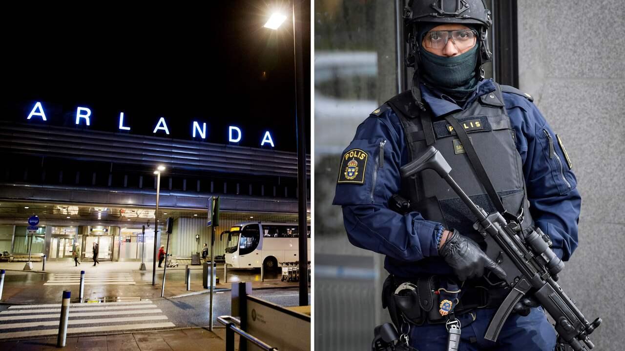 Poliser bar automatvapen pa arlanda