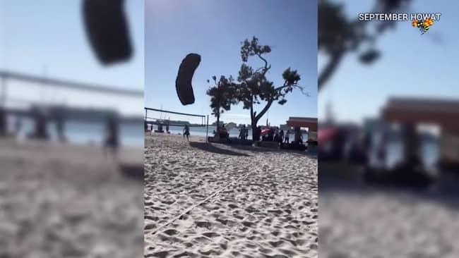 George dundrar in i trädet med våldsam kraft. Foto: Expressen TV