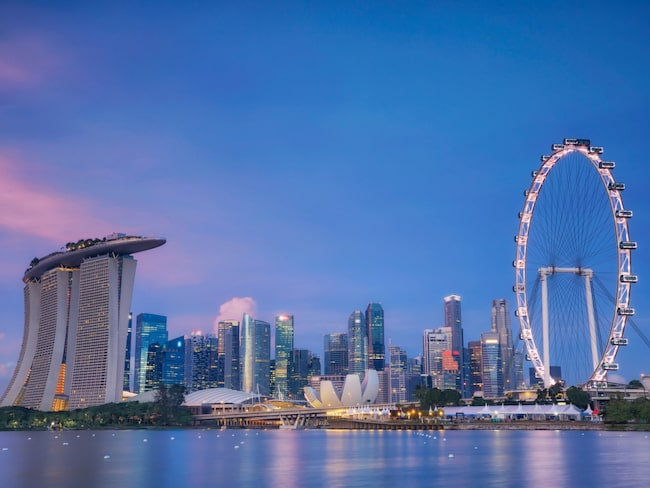 Singapores imponerande skyline.