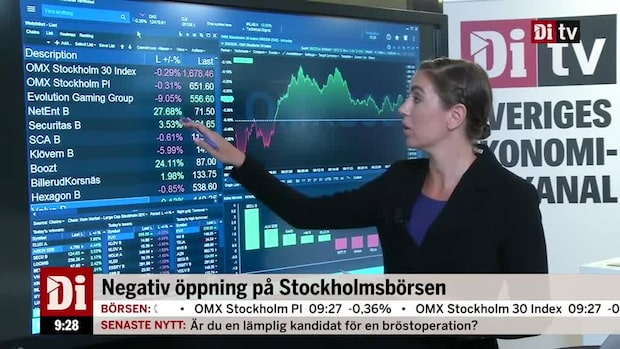 Di marknadskoll: Stockholmsbörsen rekylerar ned, Netent rusar 27 procent efter Evolutionbud.