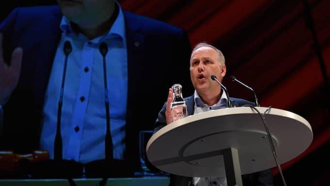 Jonas Sjöstedt håller tal på Vänsterpartiets kongress. Foto: HENRIK MONTGOMERY/TT / TT NYHETSBYRÅN