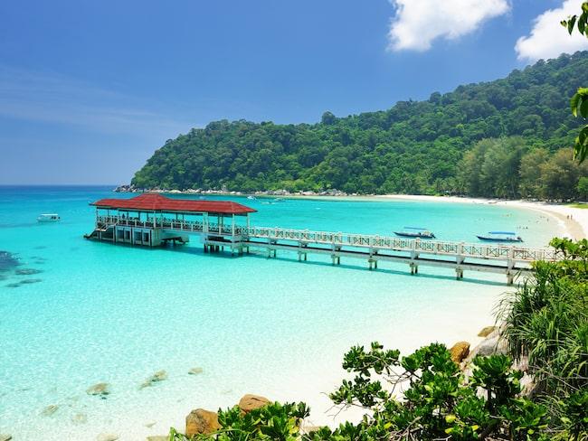 Strandvy över Pulau Perhentian på ön Besar, Malaysia.
