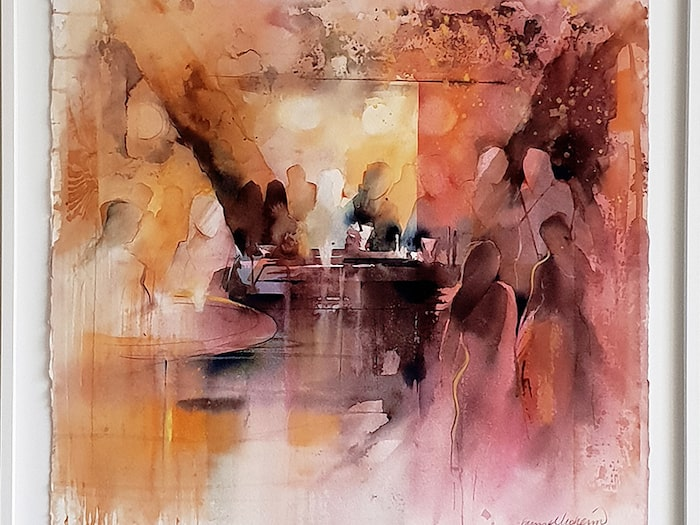 """""""Nattklubb"""", ett originalverk i akvarell av Gunnel Moheim."""