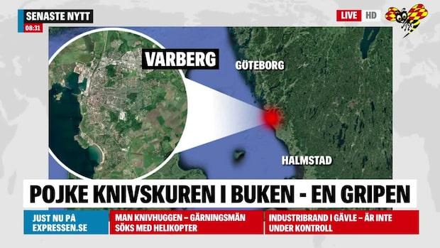 Pojke knivskuren i buken i Varberg