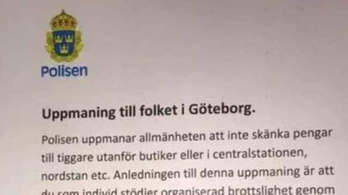 """På Facebook sprids just nu ett budskap som utger sig komma från polisen – där de uppmanar """"folket i Göteborg"""" att inte skänka pengar till tiggare. Foto: Polisen"""