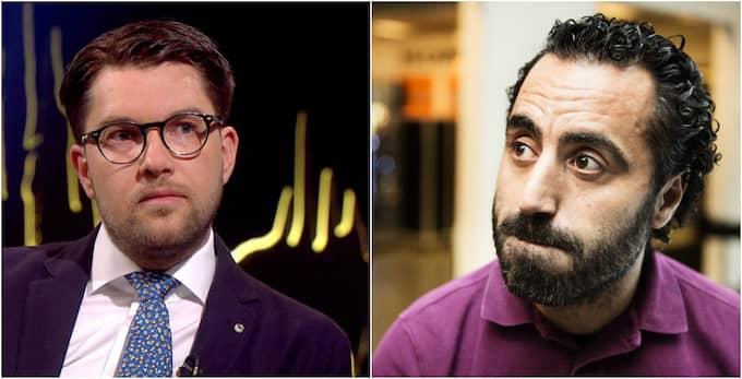 Sverigedemokraternas partiledare Jimmie Åkesson och komikern Özz Nûjen. Foto: SVT/Anna-Karin Nilsson