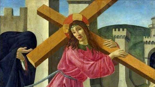 """Den italienske rennässansmålaren Sandro Botticelli (1445-1510) målade en Jesus med kvinnliga drag, här i """"Kristus bär sitt kors"""" (1490). Bilden är beskuren."""