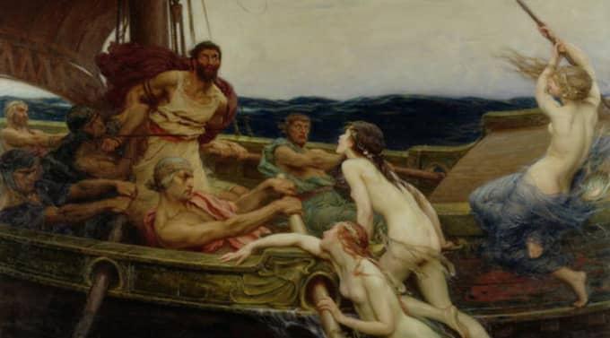 """Tonsatta drifter. Den homeriske Odysseus försöker motstå kvinnors lockrop i Herbert James Drapers """"Ulysses and the sirens"""" (1909). Något beskuren."""