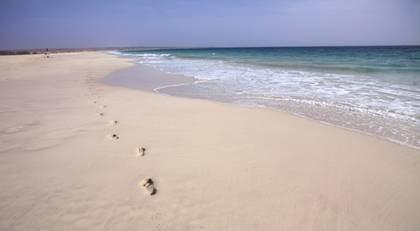 Gott om plats på stranden på Boavista.