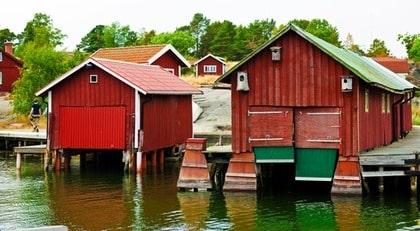 Ramsmora båthamn på ön Möja.