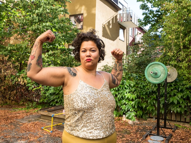 Anna Suvanna Davidsson fastnade för styrketräning.