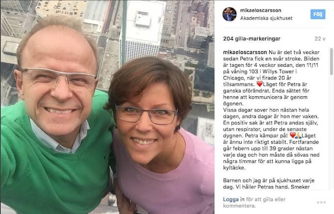 Mikael Oscarsson, KD, har ända sedan hustrun Petra insjuknade i en allvarlig stroke varit öppen med vad familjen går igenom. Här Instagraminlägget från december i fjol där han berättade om Petras sjukdom. Foto: Instagram
