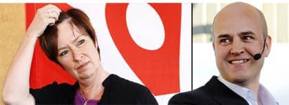 Mona Sahlins rödgröna, vänsterorienterade, alternativ kan få det tungt i höstens val. Fredrik Reinfeldt kan le då svenska folket lutar mer åt höger. OBS! Bilden är ett montage. Foto: Cornelia Nordström