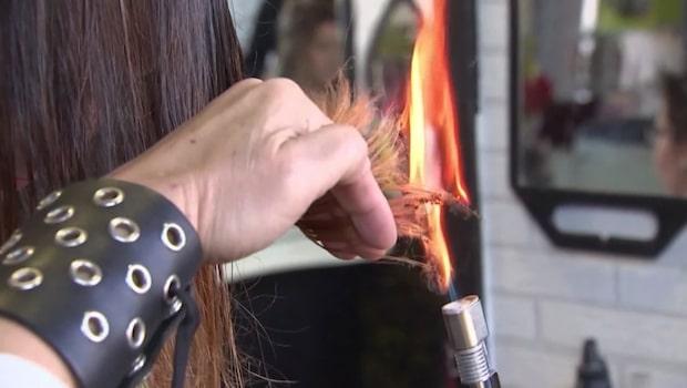 Frisören Alberto fixar frisyrer med eld och svärd