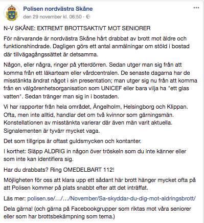 Polisens varning har lagts ut på bland annat Facebook. Foto: Polisen