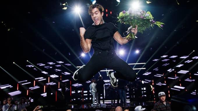 Över 3,5 miljoner tittare såg Benjamin Ingrosso vinna finalen i Melodifestivalen. Foto: OLLE SPORRONG