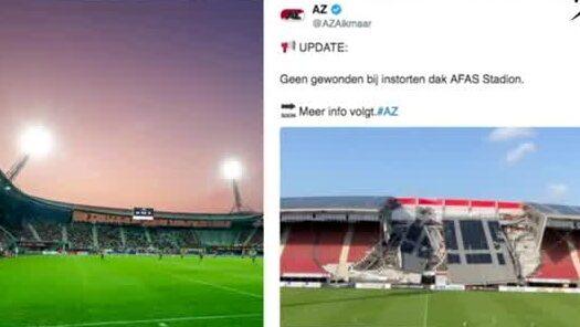 Taket på AZ Alkmaars arena har rasat