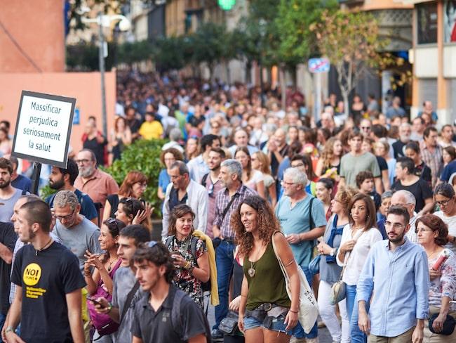 Över 3 000 lokalbor demonstrerade i Mallorcas huvudstad Palma i veckoslutet - mot turismen.