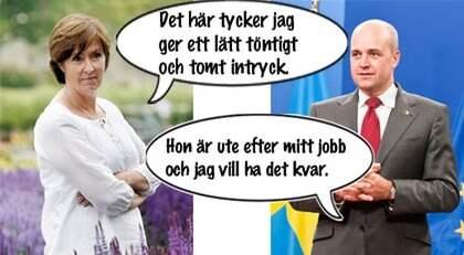 Mona Sahlin möter Fredrik Reinfeldt i en het tv-duell i kväll. Foto: CORNELIA NORDSTRÖM och ALL OVER PRESS