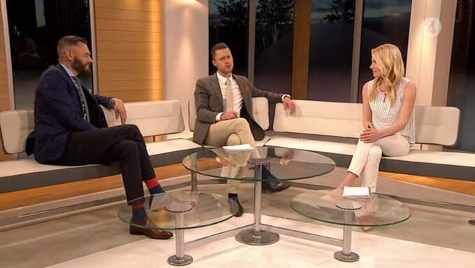 Olof Lundh, Per Skoglund och Hanna Marklund i TV4:s studio unde fotbolls-VM i Kanada. Foto: TV4.