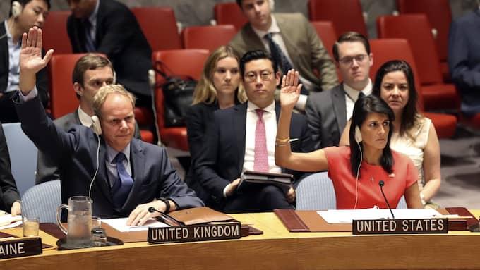 I början av augusti röstade FN igenom att införa sanktioner mot Nordkorea. Foto: MARY ALTAFFER / AP TT NYHETSBYRÅN