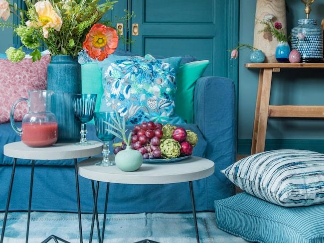 Inred i blått och kombinera med vacker grönska.