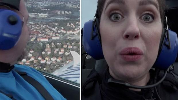 Reportern testar flyget som går på bara el