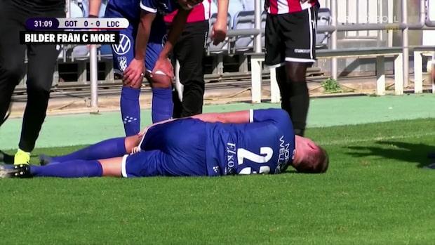 Emil Holm vrider sig i smärta – krockade otäckt