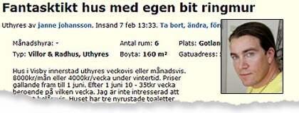 """Jan Emanuel har försökt att hyra ut sin lägenhet vid Mosebacke i Stockholm - och en villa i Visby till extrema överpriser. """"Bedrövligt,"""" säger man från Hyresgästföreningens sida. Foto: Blocket/Sven Lindwall"""