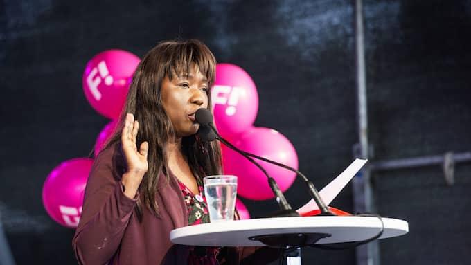 Fi-ledaren Victoria Kawesa var först ut av partiledarna att tala under politikerveckan. Foto: ANNA-KARIN NILSSON