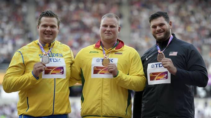 Andrius Gudzius (i mitten här) vann VM-guldet i London. Foto: JOEL MARKLUND / BILDBYRÅN