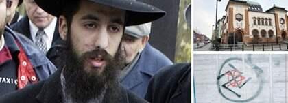 """""""Ända sedan jag kom hit har folk skrikit 'jävla jude' och 'Heil Hitler' efter mig"""", säger rabbinen Shneur Kesselman i Malmö. Allt oftare syns klotter med ett hotfullt budskap mot den judiska minoriteten. Angreppen mot synagogan och judiska kyrkogården i Malmö har också ökat, och på Latinskolan i Malmö hällde tre personer ut bensin på skolgården i form av ett hakkors och tände sedan eld. Foto: Joachim Wall/Lasse Svensson"""
