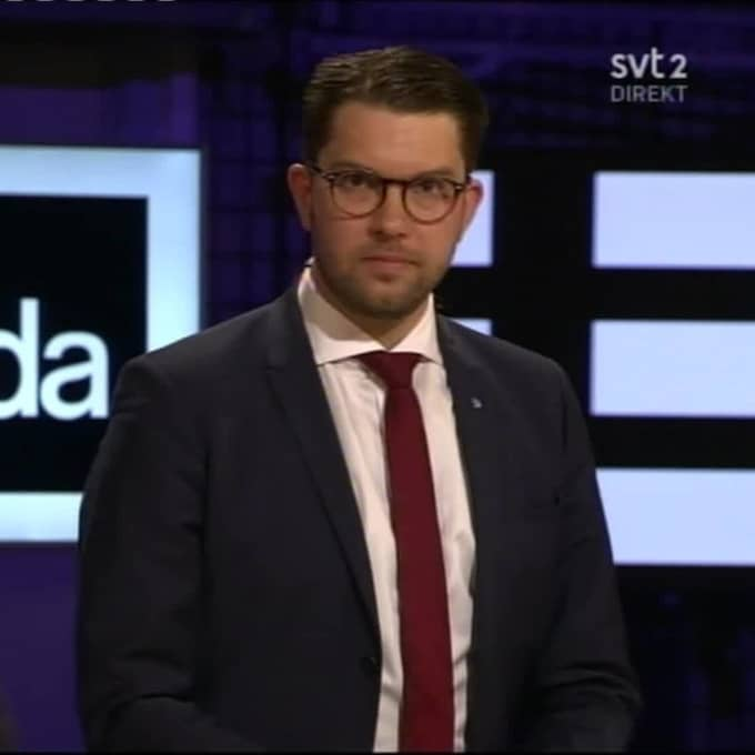 Jimmie Åkesson (SD) riktade kritik mot att regeringen upphävt id-kontrollerna. Foto: SVT.