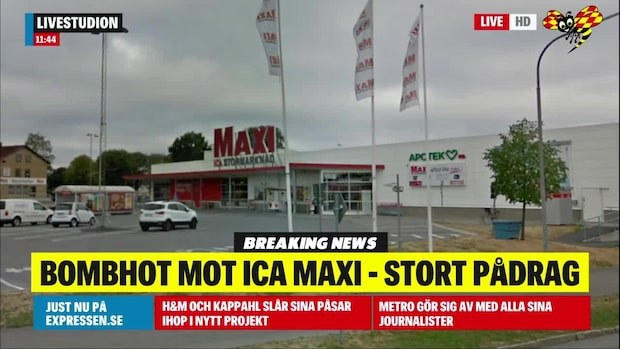 Bombhot mot Ica Maxi – butiken utryms