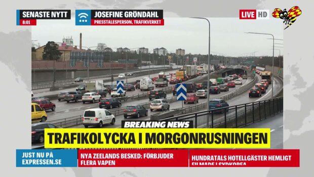 Trafikolycka i morgonrusningen - E4:an stängs av