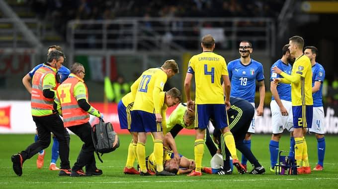 Jakob Johansson skadade sig under playoff-mötet. Foto: PETTER ARVIDSON / BILDBYRÅN