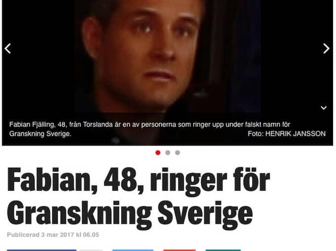 Expressen har de senaste dagarna skrivit om det främlingsfientliga nätverket Granskning Sverige. Foto: Faksimil Expressen.se