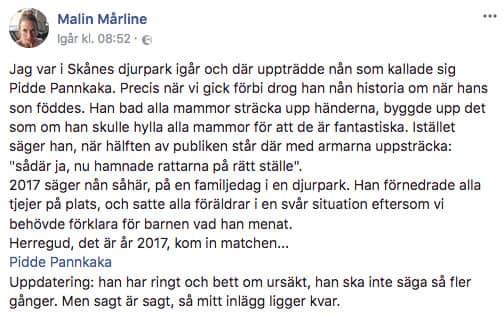 Malin Mårline skrev om händelsen på Facebook. Foto: Skärmdump