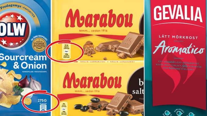 Olw:s chips krympte, Marabous chokladkakor är i vissa fall inte längre 200 gram och flera av Gevalias kaffesorter säljs inte i klassisk halvkilosförpackning.