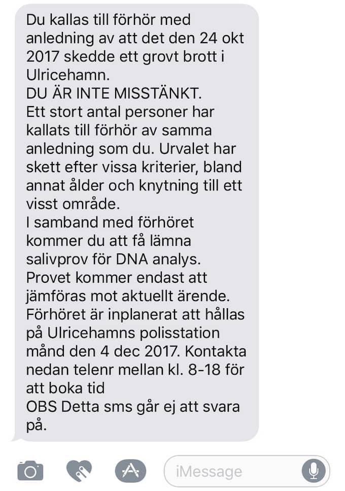 GT har av polisen tagit del av texten i mass-sms:en i mejlform. Ovan är ett montage kring hur det skulle sett ut om det i stället skickats till en mobiltelefon.